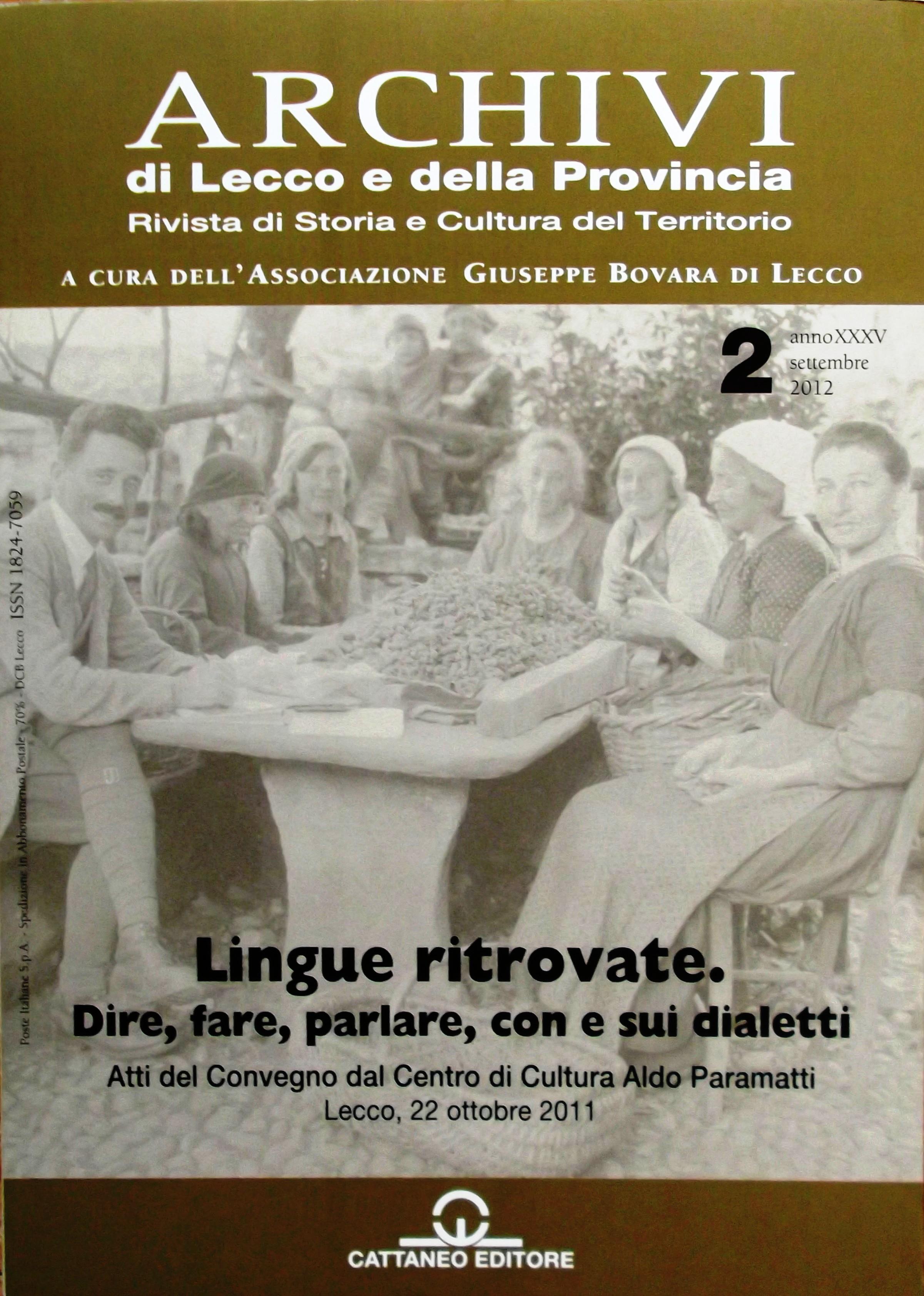 Archivi di Lecco e della Provincia, Atti del Convegno Lingue ritrovate, 2012